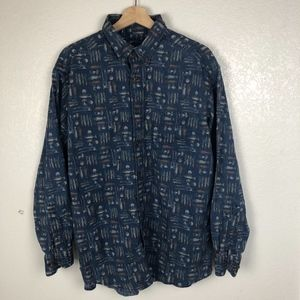 Woolrich Fisherman Shirt Fishing Print Button XL